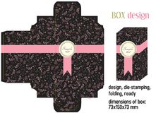 Box design romantic. Die-stamping, folding, ready, dimensions 73x150x73 mm Royalty Free Stock Photos