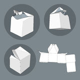 Box with Die Cut Template. Packing box For Food, Gift Or Other Products.  Royalty Free Stock Images