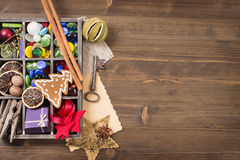 Box of different handcraft items from left side wooden table Stock Image