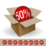 Box with a discount Royalty Free Stock Photos