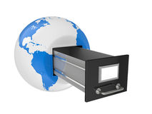 Box for documents in a planet the earth Royalty Free Stock Images