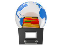 Box for documents in a planet the earth Royalty Free Stock Photo