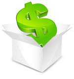 Box with dollar Stock Photos