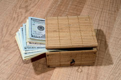 Box with dollar bills Royalty Free Stock Image