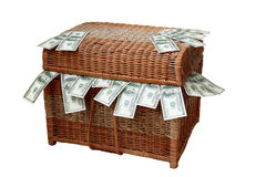 Box, dollars, bills, wealth, bank robbery, finance, currency, store,  corruption Royalty Free Stock Photos