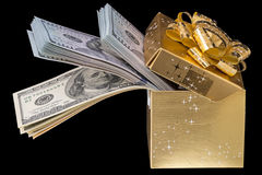 Box with dollars Stock Images
