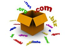 Box with domains. 3d illustration of box with domain names inside Stock Image