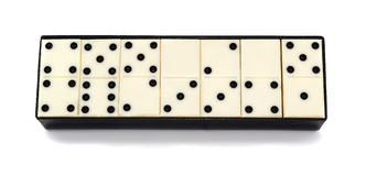 Box with dominoes Royalty Free Stock Photo
