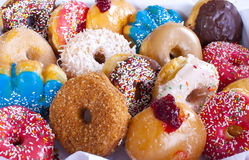 Box of Donuts Close Up Stock Image