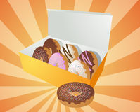 Box of donuts illustration Stock Photos
