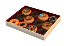 Box of Donuts on White. 3D digital render of a box of donuts  on white background Stock Photo