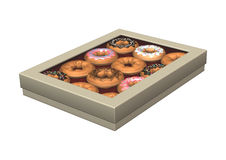 Box of Donuts on White. 3D digital render of a box of donuts  on white background Royalty Free Stock Photography