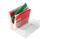 Box with double high density floppies. Box with multicolor double high density floppies isolated on white royalty free stock photography