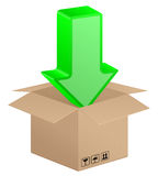 Box and download arrow Stock Photography