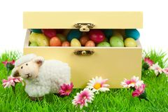 Box of easter eggs and cute sheep Royalty Free Stock Image