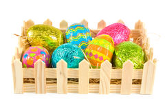 Box of easter eggs over white Stock Image