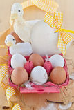 Box of eggs and easter decorations Stock Photos