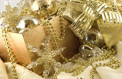 Box of Elegant Gold Holiday Decorations Stock Photos