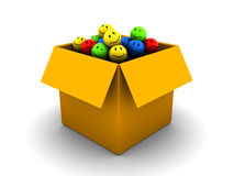 Box of emotions. Abstract 3d illustration of box full of emotions over white background Stock Images
