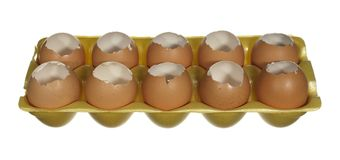 Box empty chicken eggs isolated on white background. Stock Image