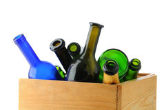 Box of Empty Wine Bottles Royalty Free Stock Photo