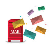 Box and envelope of mail concept Stock Image