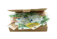 Box with euro banknotes Royalty Free Stock Photos