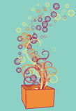 Box exploding circles and swirls. Box, swirls, circles and background are all on separate layers. Easy to change colors or add and subtract vector illustration