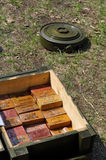 A box of explosives and a detonator world war 2 Royalty Free Stock Images