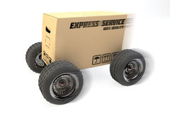 Box with express delivery on wheels Royalty Free Stock Images