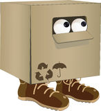 Box with eyes. Umbrella work Royalty Free Stock Photography