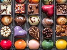 Box of fancy chocolates Royalty Free Stock Photography