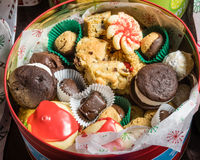 Box of fancy cookies for holiday Royalty Free Stock Photography