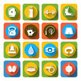 Box fight icons flat Royalty Free Stock Images