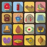 Box Fight Icons. Set with gloves belt gong isolated vector illustration Royalty Free Stock Photography