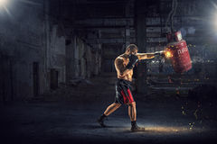 Box fighter trainning. Mixed media . Mixed media Royalty Free Stock Images