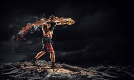 Box fighter trainning outdoor . Mixed media Royalty Free Stock Image
