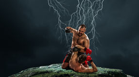 Box fighters trainning outdoor . Mixed media . Mixed media Royalty Free Stock Images