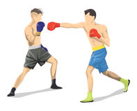box fighting. Box fighting on white background. Two men in boxing gloves and uniform Royalty Free Stock Image