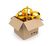 Box filled gold symbols of money Royalty Free Stock Image