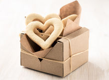 Box filled with heart cookies for valentines day Stock Photography