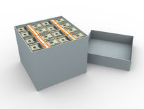 Box filled with money Royalty Free Stock Photos