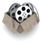 Box and films. Box with films (isolated, done in 3d Royalty Free Stock Image