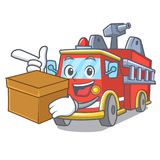 With box fire truck character cartoon. Vector illustration Stock Photography