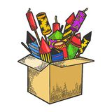 Box with fireworks color sketch engraving vector. Box with fireworks rockets color sketch engraving vector illustration. Scratch board style imitation. Hand royalty free illustration