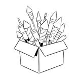 Box with fireworks coloring book vector. Box with fireworks rockets coloring retro vector illustration. Color background. Comic book style imitation Royalty Free Stock Photography