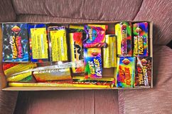 Box of fireworks. Stock Photo