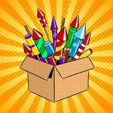 Box with fireworks pop art vector illustration. Box with fireworks rockets pop art retro vector illustration. Color background. Comic book style imitation Stock Photo