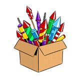 Box with fireworks pop art vector illustration. Box with fireworks rockets pop art retro vector illustration. Isolated image on white background. Comic book Stock Photos