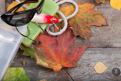 Box a fishing tackles on board with leafs autumn Royalty Free Stock Image